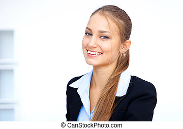 Closeup portrait of cute young business woman in office