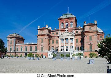 Racconigi castle near Turin, Italy. Facade - Facade of Savoy...
