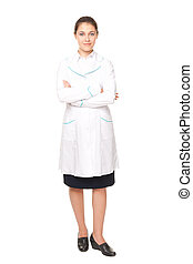Full length portrait of young female doctor isolated on...