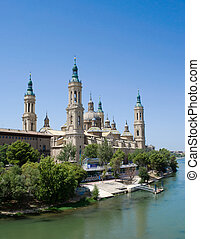 Saragossa cathedral and river Ebro - Saragossa cathedral in...