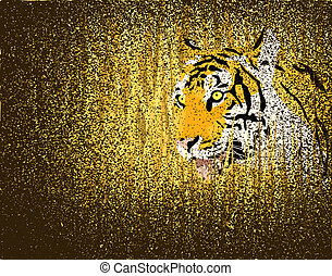 Tiger grunge - Illustration of a tiger in grass with grunge...