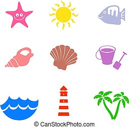 beach shapes - collection of simple isolated beach and...