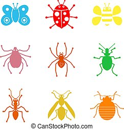 bug shapes - collection of simple isolated insect and bug...