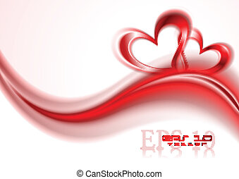 Abstract romantic background - Two red hearts and abstract...