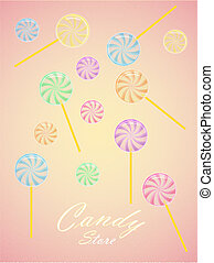 Candy shop vector illustration - A vector poster for a cady...
