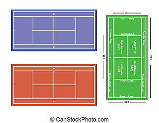 An exact scale vector illustration of a tennis court with...