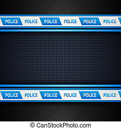 Metallic perforated sheet, police background