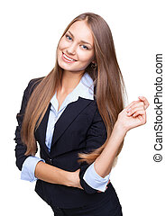 Portrait of a happy young business woman smiling isolated on white