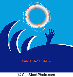 Life Saving - Designs on Life Saving with a lifeline. Vector...