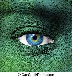 human, rosto, dragão, pele, textura