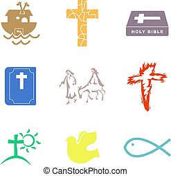 Christian shapes - collection of simple isolated Christian...