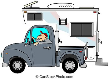 Truck and camper - This illustration depicts a man driving a...