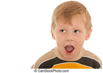 Shouting surprised boy - A portrait of a shouting surprised...