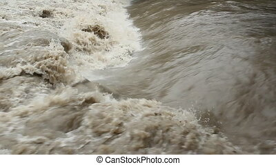 Flood river Smooth meets rough - Smooth water meets rough in...