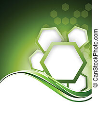 Abstract green bacgkround with hexagons
