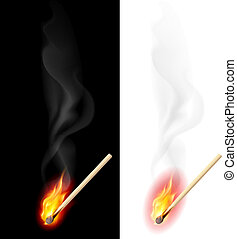 Realistic burning match. Illustration on white and black...