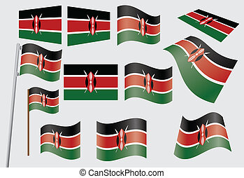 flag of Kenya - set of flags of Kenya vector illustration