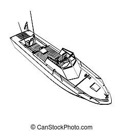 Fishing boat - Motor fishing boat isolated on white. Vector...