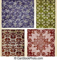 Vector Retro Seamless Patterns on Crumpled Paper Texture -...