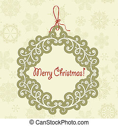 Vector Hanging Frame with Christmas Greetings - vector...
