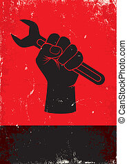 wrench - Red and black poster with hand holds a wrench