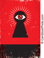 look through the keyhole - Red and black poster with keyhole...