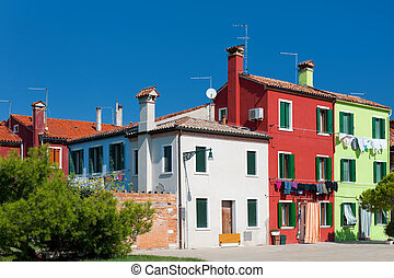 Colorful houses - Small street with colorful houses in Italy