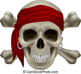 Pirate Skull, Red bandanna and bones Illustration on white