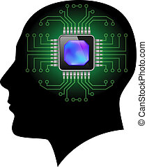 Printed circuit board brain. Illustration on white