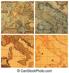ancient maps collection - collage with images of antique...