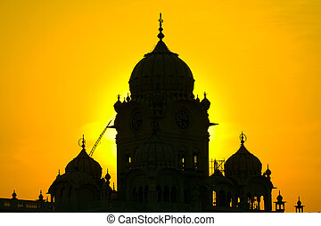 Silhouette Temple in Amritsar, India at sunset