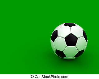 Soccer ball on the green background High resolution 3D image...