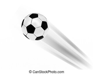 Flying soccer ball on white background rendered with motion...