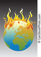 Global warming concept - A vector illustration of the...