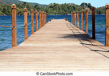 Caribbean board walk - Wooden board walk in Samana,...