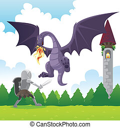 Knight fighting dragon - A vector illustration of a knight...