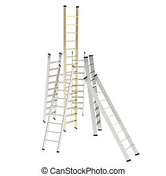 Chrome and golden glossy ladders isolated on white - Growth...