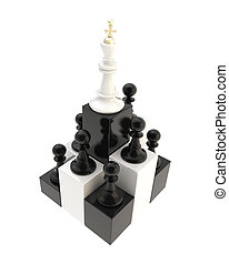 Chess king at the top among multiple pawns isolated