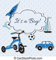 Vector card with boy toys