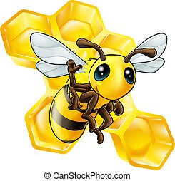 Bee and honeycomb - A cute cartoon waving bee with some...
