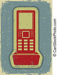 Radio phone.Grunge symbol on old paper texture