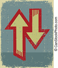 Abstract arrows background.Grunge symbol on old paper texture