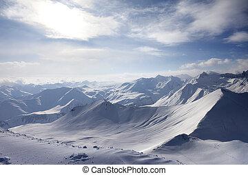 View of off-piste slope Caucasus Mountains, Georgia, ski...