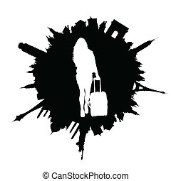 traveling girl with travel bag white illustration