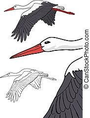 Flying stork, vector illustration - Flying stork set, vector...