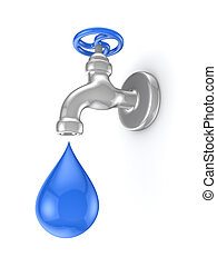 Iron tap and blue drop.Isolated on white background.3d...