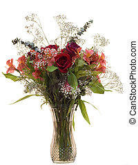 Rose Bouquet - An isolated bouquet of roses in a vase