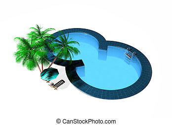 Swimming pool isolated on white