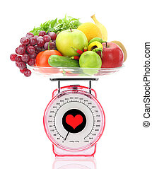 saudável, comer, cozinha, escala, frutas, legumes