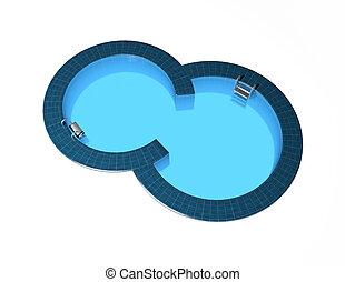 natação, piscina, isolado, branca